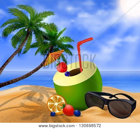 Fresh drinking coconut with a straw, cocktail umbrella sunglasses and  fruits and berries on a beach