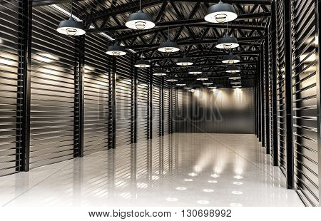 Warehouse with vintage retro lamps, empty factory hall. 3d rendering.