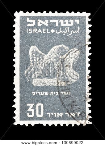 ISRAEL - CIRCA 1950 : Cancelled postage stamp printed by Israel, that shows Beth Shearim eagle.