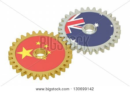 Chinese and Australian flags on a gears 3D rendering isolated on white background