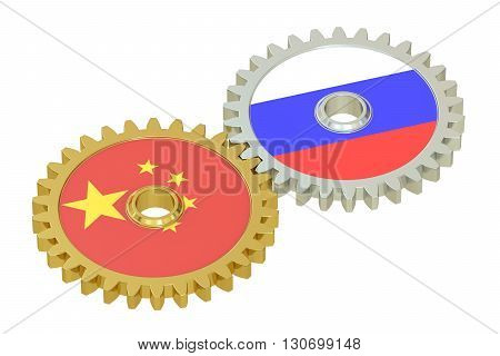 Chinese and Russian flags on a gears 3D rendering isolated on white background