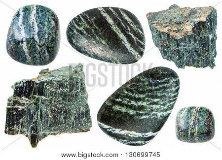 Set Of Chrysotile Gemstones Isolated