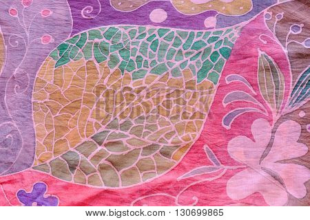Abstract Leaf On Pink And Purple Silk Batik