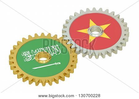 Saudi Arabia and Vietnam flags on a gears 3D rendering isolated on white background