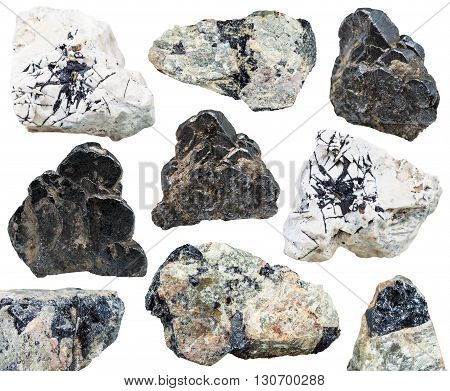 Various Natural Mineral Stones Ilmenite Isolated