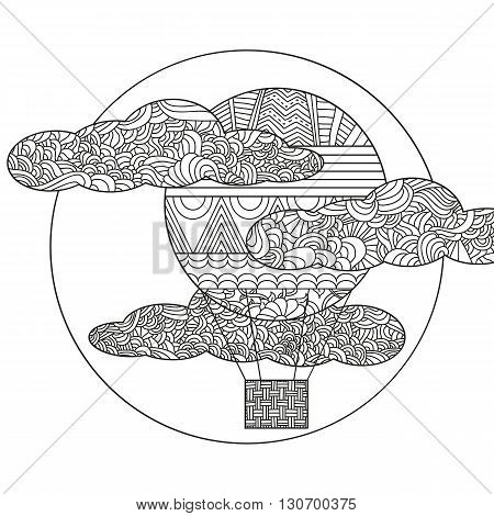Original doodle air balloon. Can be used for coloring book page design, anti stress hobby for adult. Vector black and white illustration.