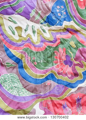 Abstract Colour Floral Pattern On Gray Silk Batik