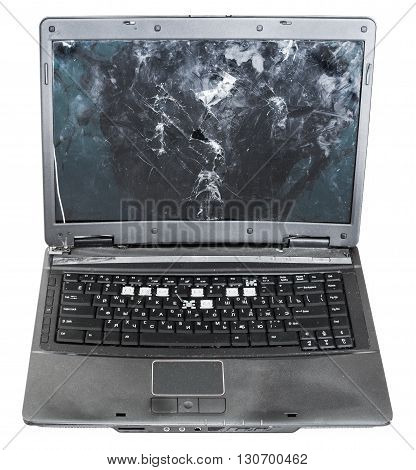 Front View Of Old Damaged Laptop Isolated