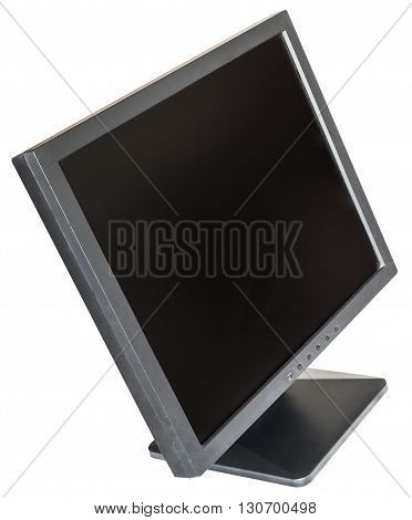 Side Above View Of Old Used Black Lcd Monitor