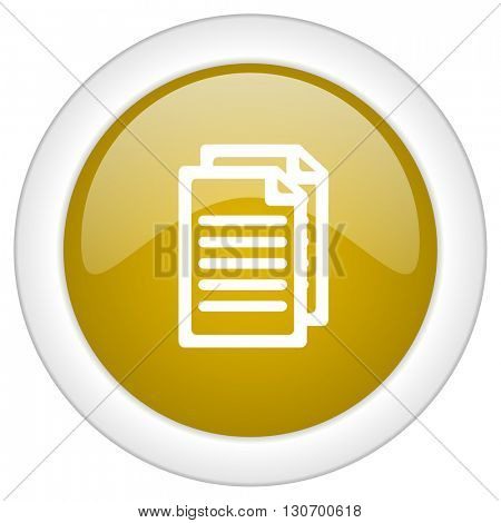 document icon, golden round glossy button, web and mobile app design illustration