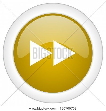 rewind icon, golden round glossy button, web and mobile app design illustration