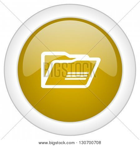 folder icon, golden round glossy button, web and mobile app design illustration