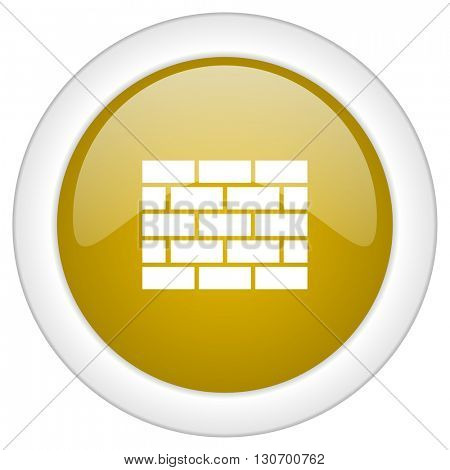 firewall icon, golden round glossy button, web and mobile app design illustration