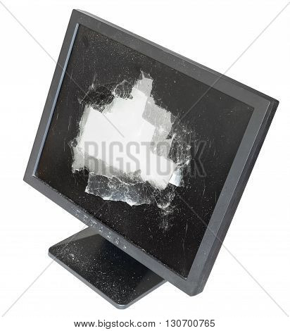 Above View Of Broken Monitor With Damaged Screen