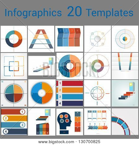 Infographics 20 Templates text area on four position Can be used for workflow process business banner diagram number options work plan web design.
