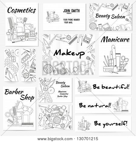 Set of banners, posters and business card with make up artist objects - lipstick, cream, brush. Cosmetics and fashion background. Vector illustration.