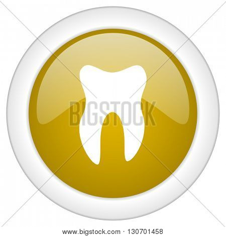 tooth icon, golden round glossy button, web and mobile app design illustration