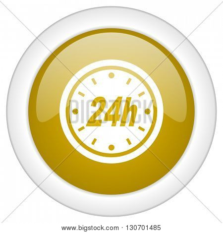 24h icon, golden round glossy button, web and mobile app design illustration