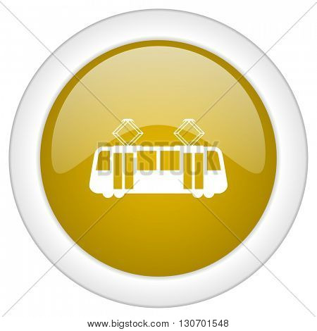 tram icon, golden round glossy button, web and mobile app design illustration