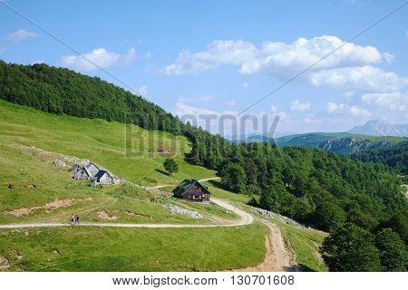 Bjelasica highland view and Planinarski Dom Vranjak Alpine Hut in Montenegro