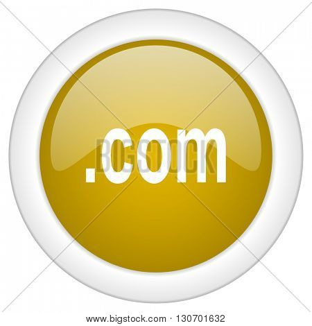 com icon, golden round glossy button, web and mobile app design illustration