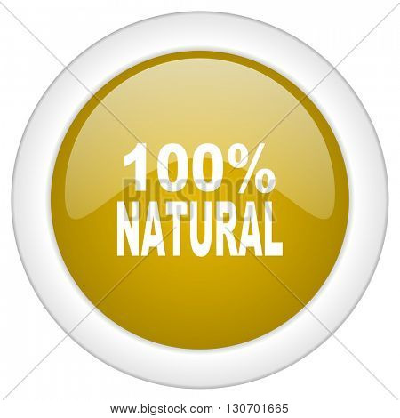 natural icon, golden round glossy button, web and mobile app design illustration