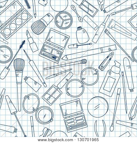 Seamless pattern with tools for makeup on notebook. Vector collection for beauty design.
