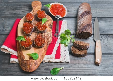 Small Canape Sandwiches With Fish Red Caviar