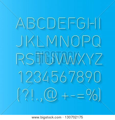 Font Thin Lines with Shadow Isolated on Blue Background