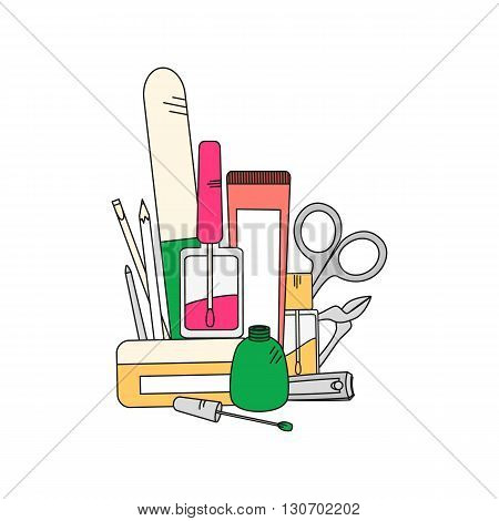 Beauty background with manicure tools - nail clippers, nail polish and nail file. Vector illustration in bright color..