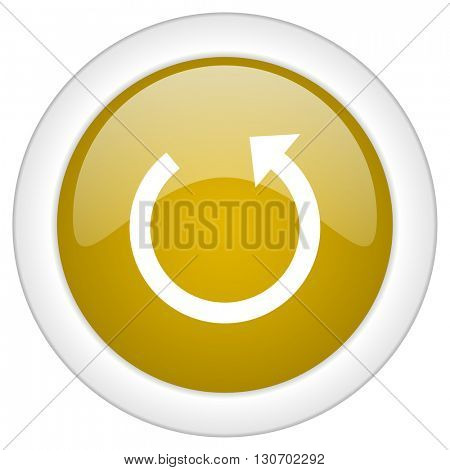 rotate icon, golden round glossy button, web and mobile app design illustration