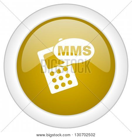 mms icon, golden round glossy button, web and mobile app design illustration