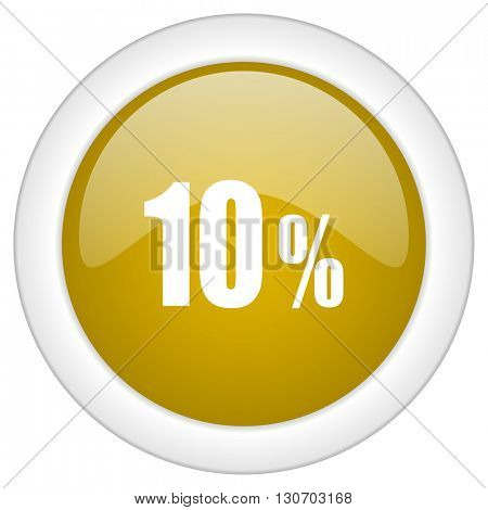 10 percent icon, golden round glossy button, web and mobile app design illustration