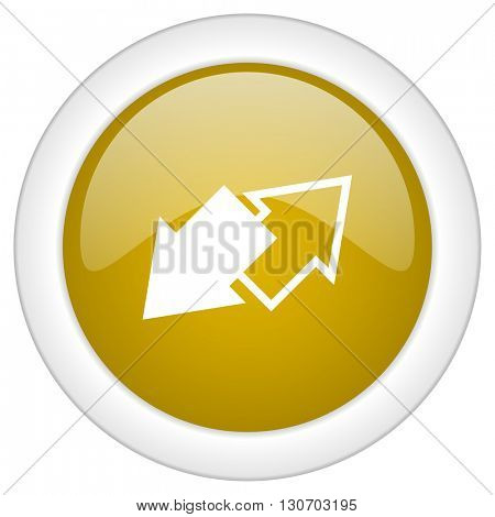 exchange icon, golden round glossy button, web and mobile app design illustration