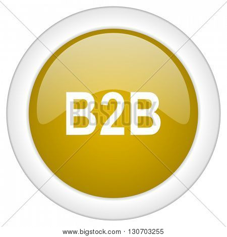 b2b icon, golden round glossy button, web and mobile app design illustration