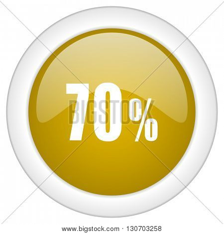 70 percent icon, golden round glossy button, web and mobile app design illustration