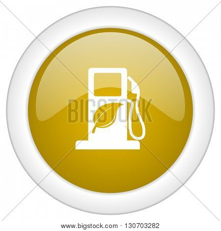 biofuel icon, golden round glossy button, web and mobile app design illustration