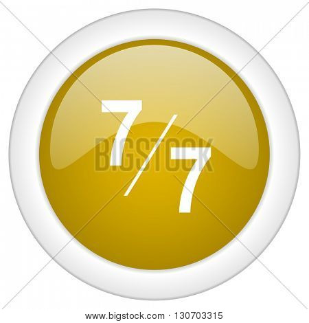7 per 7 icon, golden round glossy button, web and mobile app design illustration