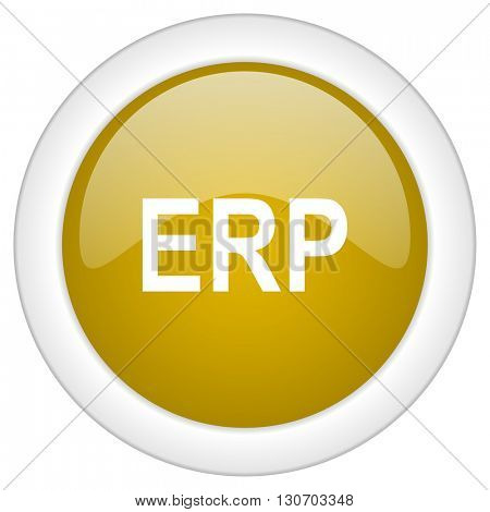 erp icon, golden round glossy button, web and mobile app design illustration