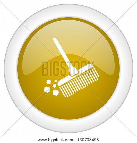 broom icon, golden round glossy button, web and mobile app design illustration