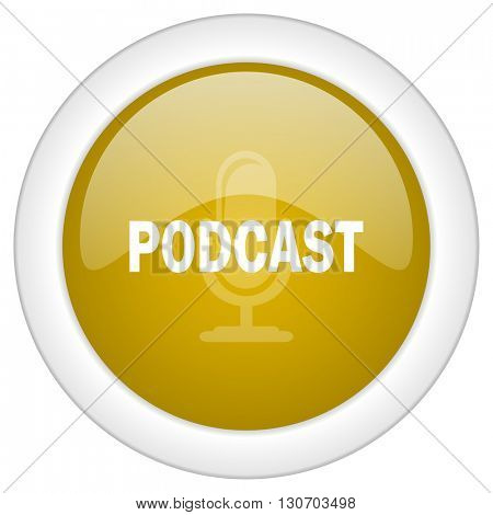 podcast icon, golden round glossy button, web and mobile app design illustration