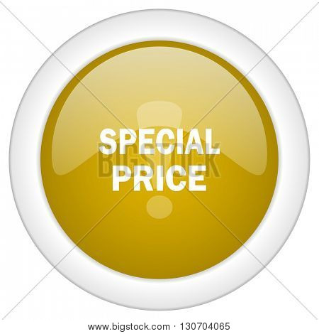 special price icon, golden round glossy button, web and mobile app design illustration