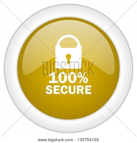 secure icon, golden round glossy button, web and mobile app design illustration