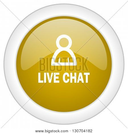 live chat icon, golden round glossy button, web and mobile app design illustration