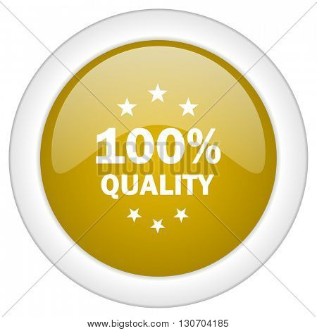 quality icon, golden round glossy button, web and mobile app design illustration