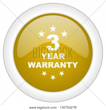 warranty guarantee 3 year icon, golden round glossy button, web and mobile app design illustration