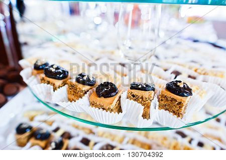 Elegance Wedding Reception Table With Food And Decor. Sweet Baking