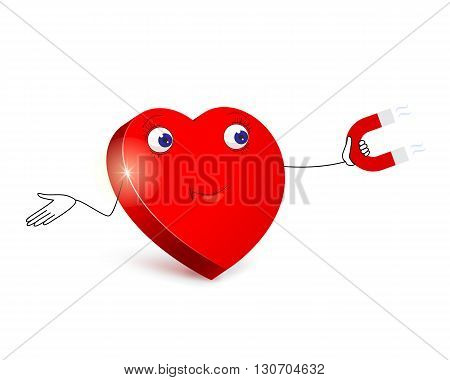 Cartoon red heart with merry facial expression by using red magnet in his hand is trying to lure amorous arrow