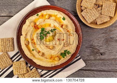 Hummus Dip with Olive Oil. Selective focus.