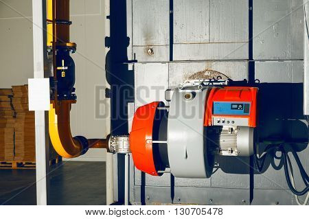 Gas burner on the industrial steam boiler